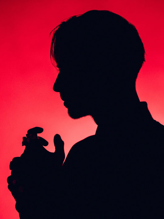 Silhouette portrait of Gustav Wood from Young Guns photographed by Marcus Maschwitz
