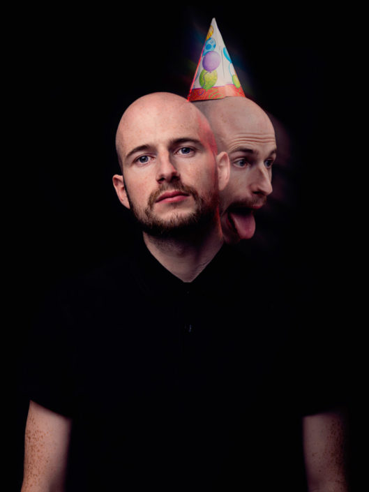 Double exposure portrait of James Davies from The Blackout photographed by Marcus Maschwitz