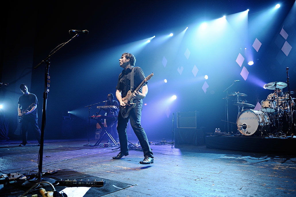 Jim Adkins of Jimmy Eat World headlining Brixton Academy live in London photographed by Marcus Maschwitz