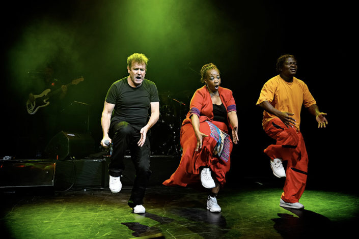 Johnny Clegg on stage in the UK photographed by Marcus Maschwitz