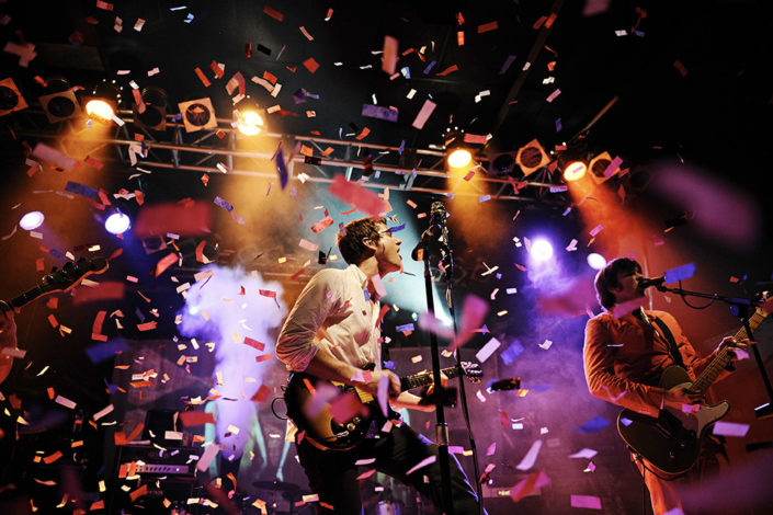 OK Go live on stage with confetti photographed by Marcus Maschwitz