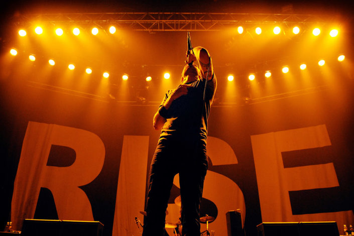 Tim Mcllrath of Rise Against headlining Brixton Academy in London photographed by Marcus Maschwitz