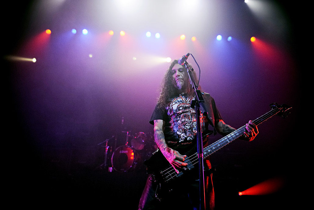Tom Araya of Slayer performing live on stage in London photographed by Marcus Maschwitz