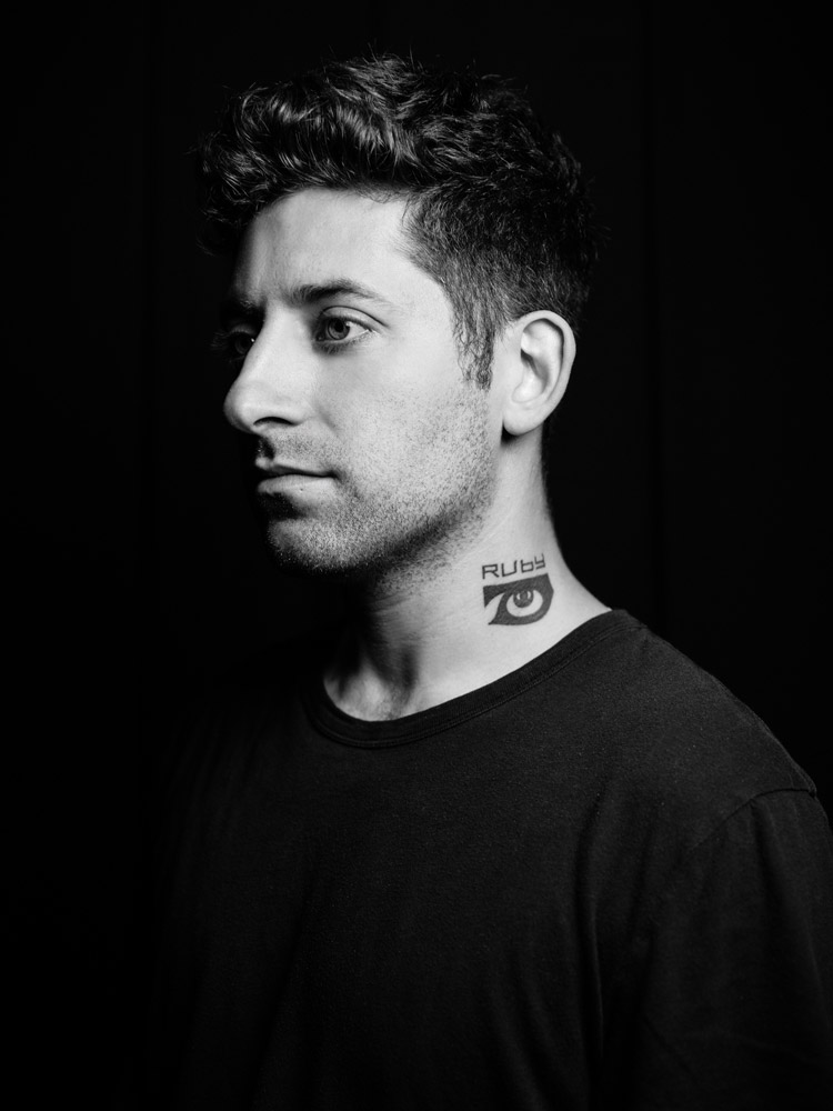 Black and white portrait of Joe Trohman from Fall Out Boy photographed by Marcus Maschwitz