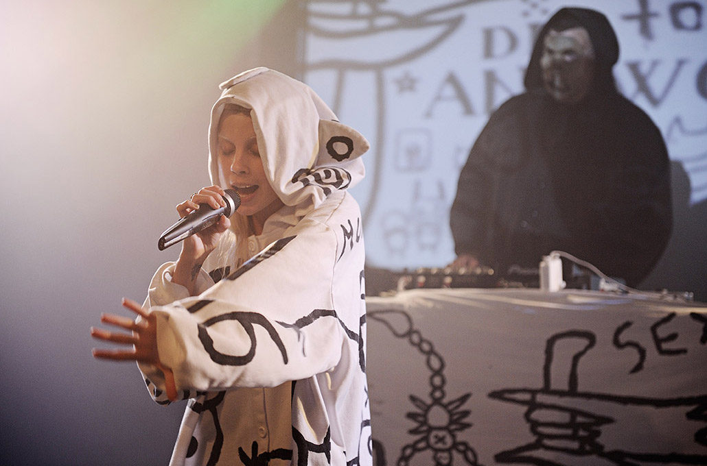 Yolandi Visser of Die Antwoord performing live photographed by Marcus Maschwitz