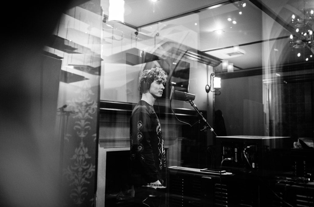 Rob Damiani of Don Broco in the recording studio photographed by Marcus Maschwitz