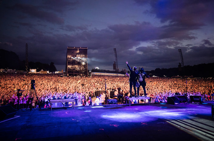 Pete Wentz and Patrick Stump of Fall Out Boy on main stage at Reading Festival photographed by Marcus Maschwitz