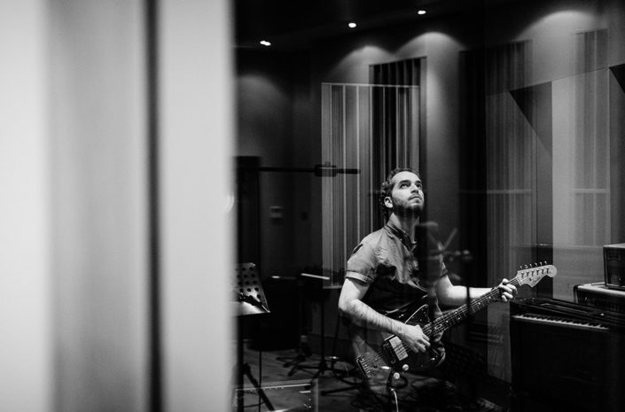 Shlomi Ash recording in studio photographed by Marcus Maschwitz