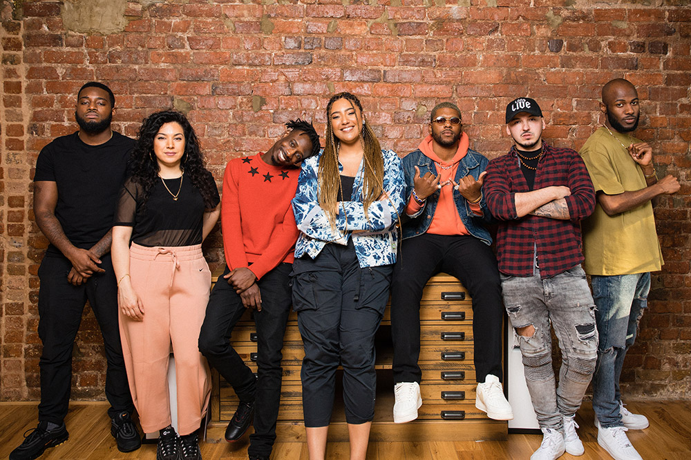 Tiffany Calver, A Class, Shay D, Nic da Kid, Tokyo, Shin and Kadiata pose for a portrait during The Cut Season 1 in London, United Kingdom on May 12, 2019